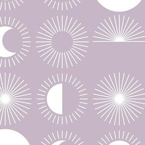 Sunrise sunshine and moon phase designs happy day design lilac purple white JUMBO rows
