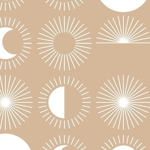 Sunrise sunshine and moon phase designs happy day design camel beige latte brown white JUMBO rows
