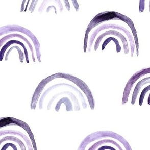 Amethyst watercolor rainbows - purple boho painted rainbow pattern for modern nursery - home decor p106-a5