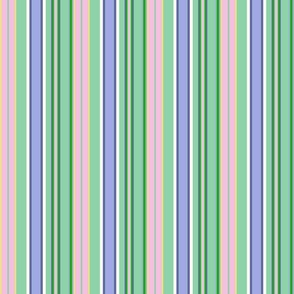 Preppy Stripes - Pink, Sage, Yellow and Lavender