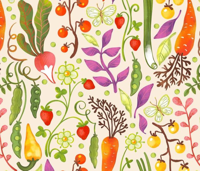 Garden Vegetables and Herbs Pattern_Olga Akbarova