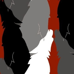 Howling Wolves in Black and White on Red