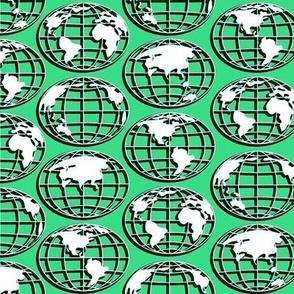Globe - white on green