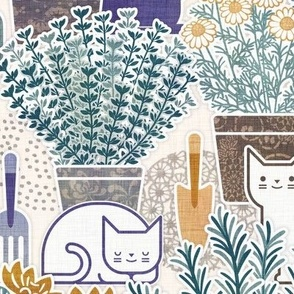 Herb Garden with Cats