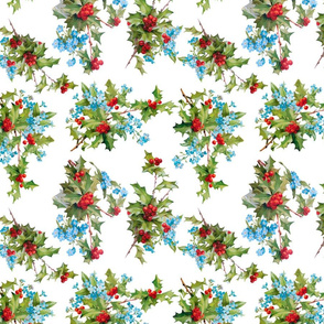 Holly and Forget Me Nots