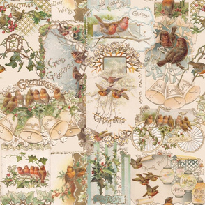 Vintage Christmas Birds and Flowers