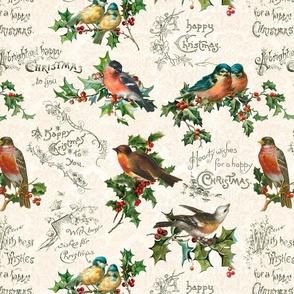 Vintage Christmas Birds & Holly