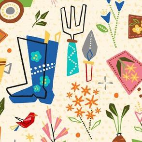 Retro Herb + Flower Garden // Plant, Water, Grow // © ZirkusDesign Boots, Birds, Wheelbarrow, Shovel, Trowel, Garten, Floral, Roots, Blooms, Vintage