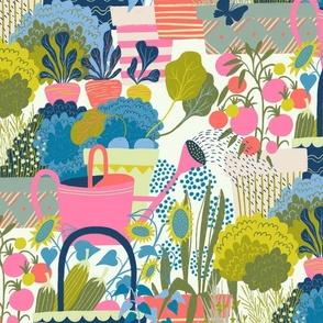 lush veggie garden pink // large scale
