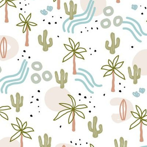 Tropical summer  Hawaii island vibes palm trees cacti desert sun and waterfalls retro mid-century style blue green neutral on white