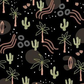 Tropical summer  Hawaii  island vibes palm trees cacti desert sun and waterfalls retro mid-century style caramel green neutral on black