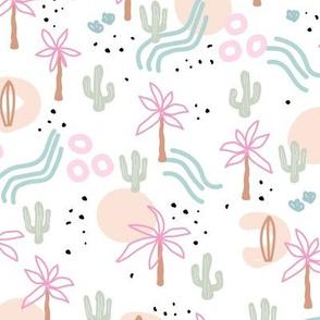 Tropical summer  Hawaii island vibes palm trees cacti desert sun and waterfalls retro mid-century style pink peach blush green on white