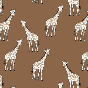 Sweet giraffe friends safari animals boho style kids design mud brown coffee