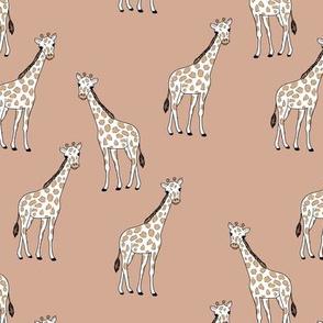 Sweet giraffe friends safari animals boho style kids design moody coral blush beige