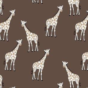 Sweet giraffe friends safari animals boho style kids design  chocolate brown
