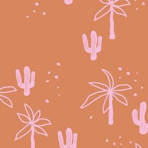 Tropical summer  Hawaii garden palm trees and cacti plants retro boho design kids design burnt orange pink girls