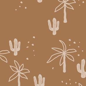 Tropical summer  Hawaii garden palm trees and cacti plants retro boho design kids design caramel brown beige