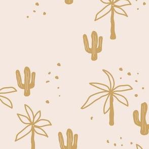 Tropical summer garden palm trees and cacti plants retro boho design kids design ochre yellow mustard on sand Hawaii