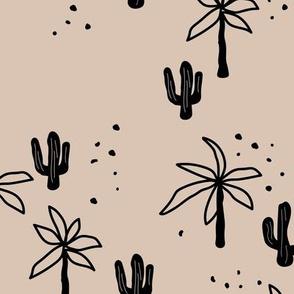 Tropical summer  Hawaii garden palm trees and cacti plants retro boho design kids design black on sand beige latte