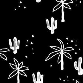 Tropical summer  Hawaii garden palm trees and cacti plants retro boho design kids design monochrome black and white