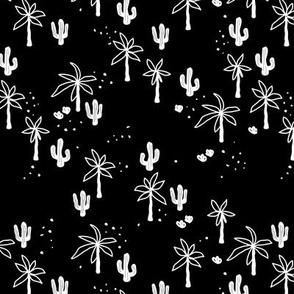 Tropical  Hawaii summer garden palm trees and cacti plants retro boho design kids design monochrome black and white SMALL