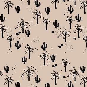 Tropical  Hawaii summer garden palm trees and cacti plants retro boho design kids design black on sand beige latte SMALL