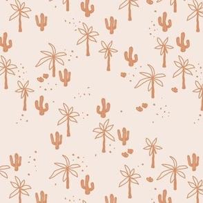 Tropical  Hawaii summer garden palm trees and cacti plants retro boho design kids design burnt orange peach on blush SMALL