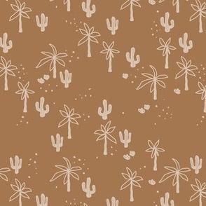 Tropical  Hawaii summer garden palm trees and cacti plants retro boho design kids design caramel brown beige SMALL