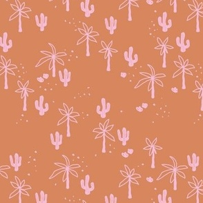 Tropical  Hawaii summer garden palm trees and cacti plants retro boho design kids design burnt orange pink girls