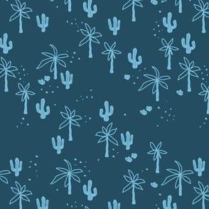 Tropical  Hawaii summer garden palm trees and cacti plants retro boho design kids design blue on navy SMALL