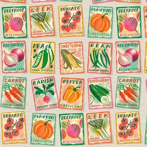 Large scale Vegetable seed packets on ecru background
