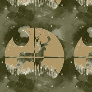 Deer Hunter Target Khaki Green and Cream Camo, 6 inch block