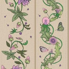 Vertical flower tendrils wallpaper