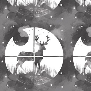Deer Hunter Target Black and White Grey Camo, 6 inch block