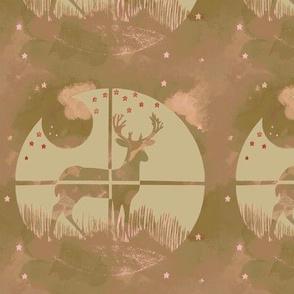 Deer Hunter Target Khaki Green and Pink Camo, 6 inch block