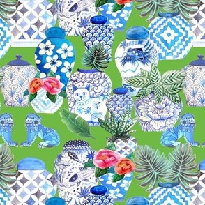 Ginger jars and foo dogs in blue and white on Emerald green