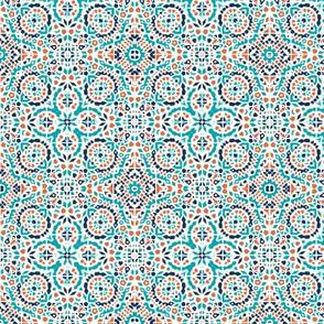 Marrakesh Mini Bohemian teal, blue & rust mosaic