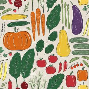 Summer Veggie Garden - textured block print - large scale