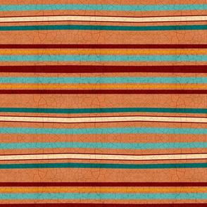 Hand drawn terracotta wonky crackled horizontal stripes