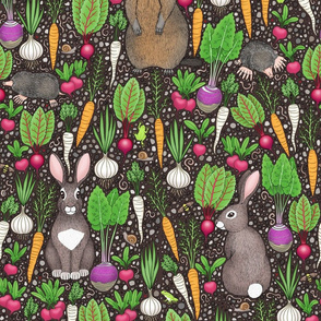 root vegetables and garden critters on dirt brown