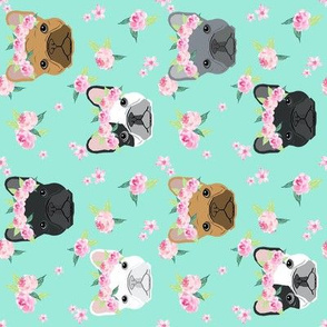 frenchie floral crown fabric, french bulldog flowers fabric, flower crown dog, dog portrait fabric - mint