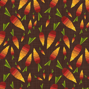 carrots - stylized veggie party - carrots fabric