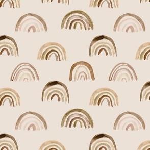 Choco-toffee watercolor rainbows on cream - boho painted rainbow pattern for modern nursery - home decor p106-a8