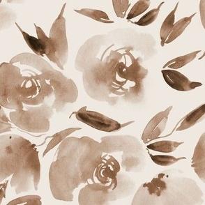 Chocolate Parisian rose garden - watercolor flowers for modern home decor bedding nursery a307-14