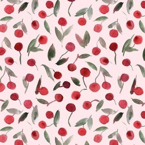 sweet cherries - watercolor summer cherry fruit a347-2