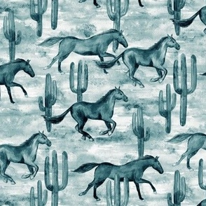 Wild and Free Monochrome Watercolor Horses - small