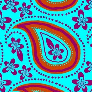 Large Paisley and Flowers