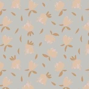 scribble floral tan