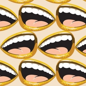 Hysteria* (Gold Seal) || smile mouth teeth laugh excitement abstract dentist mustard coral