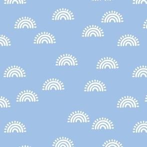 Sunshine and rainbows boho summer day scandinavian minimal nursery design lavender blue white